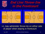 end line throw ins in the frontcourt