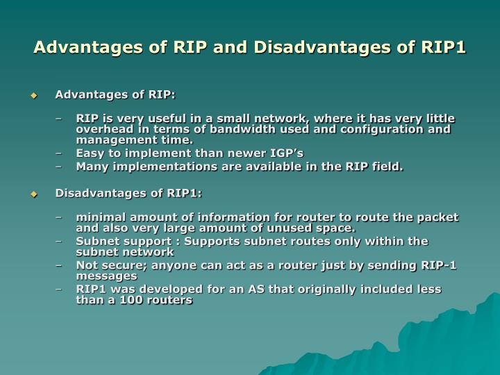 Advantages of RIP and Disadvantages of RIP1