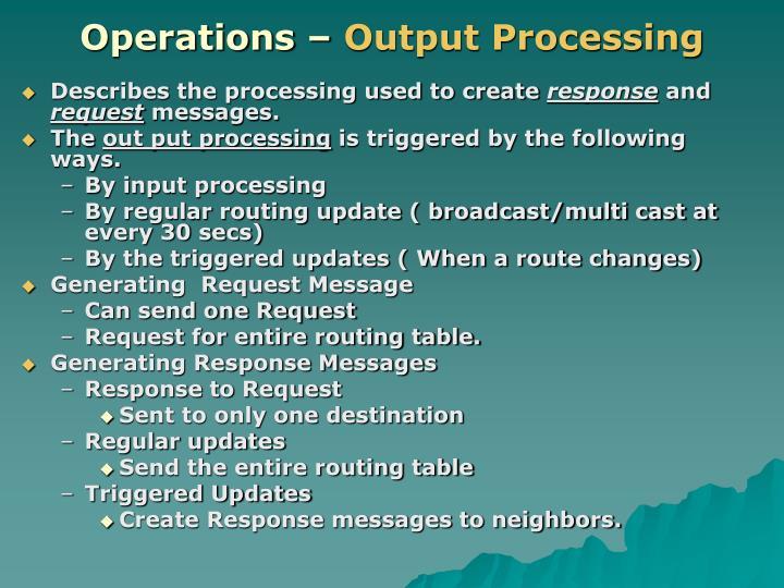 Operations –