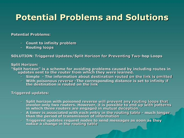 Potential Problems and Solutions
