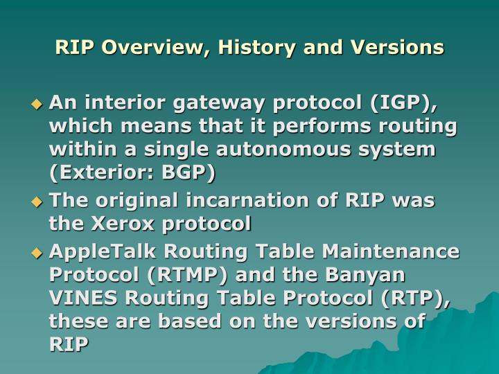 Rip overview history and versions
