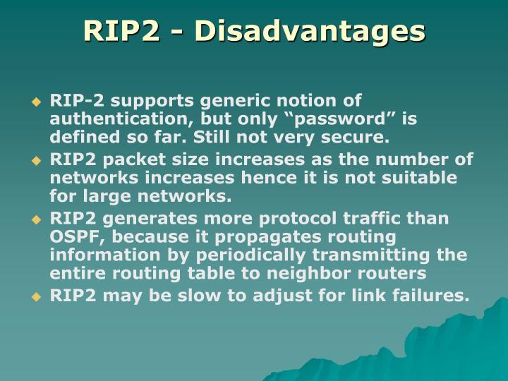 RIP2 - Disadvantages