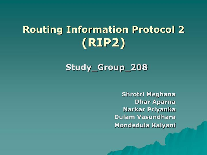 Routing information protocol 2 rip2