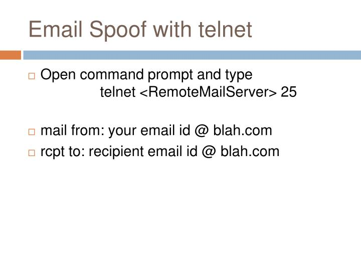 Email Spoof with telnet