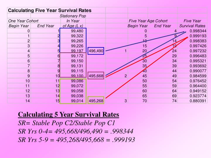 Calculating 5 Year Survival Rates