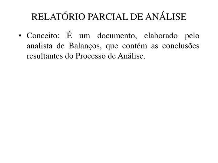 RELATÓRIO PARCIAL DE ANÁLISE