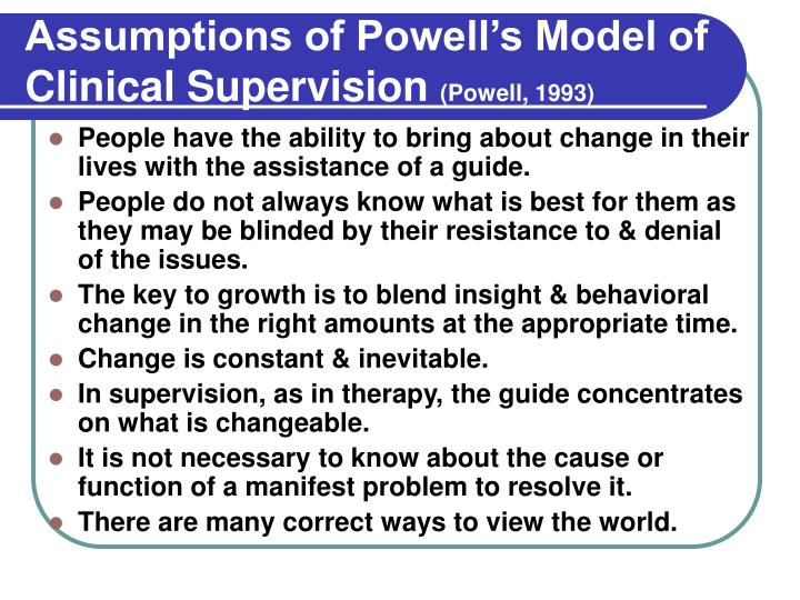 Assumptions of Powell's Model of Clinical Supervision