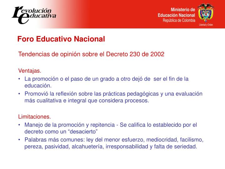 Foro Educativo Nacional