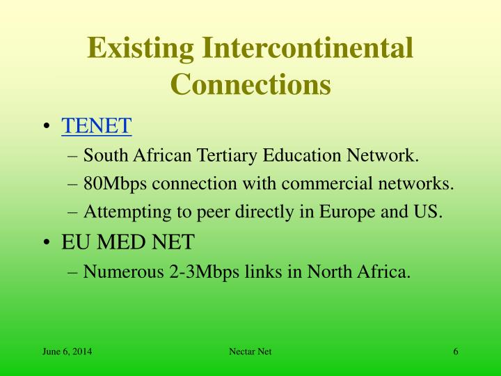 Existing Intercontinental Connections