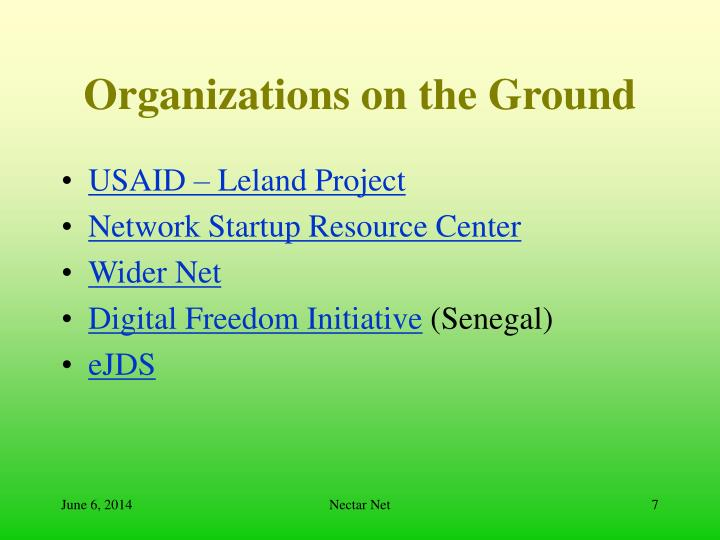 Organizations on the Ground