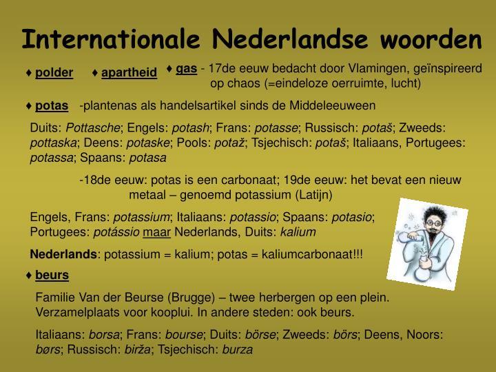 Internationale Nederlandse woorden
