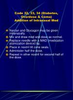 code 32 33 34 diabetes overdose coma addition of intranasal med