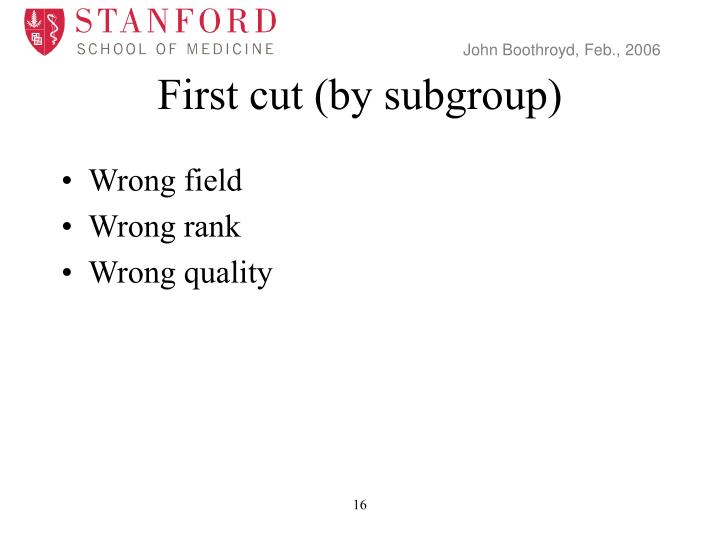 First cut (by subgroup)