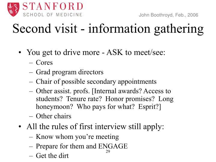 Second visit - information gathering