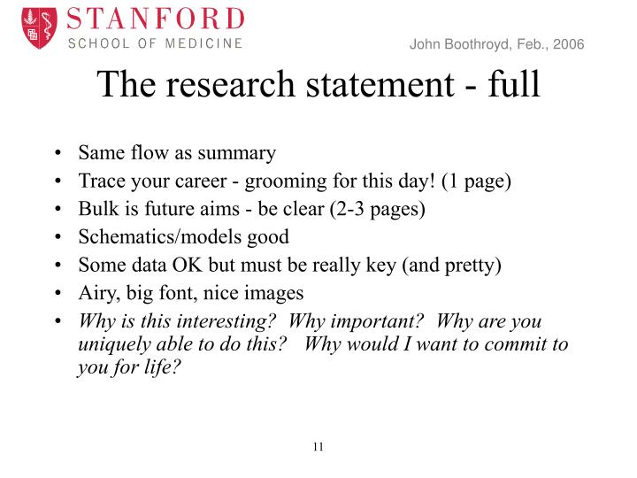 The research statement - full