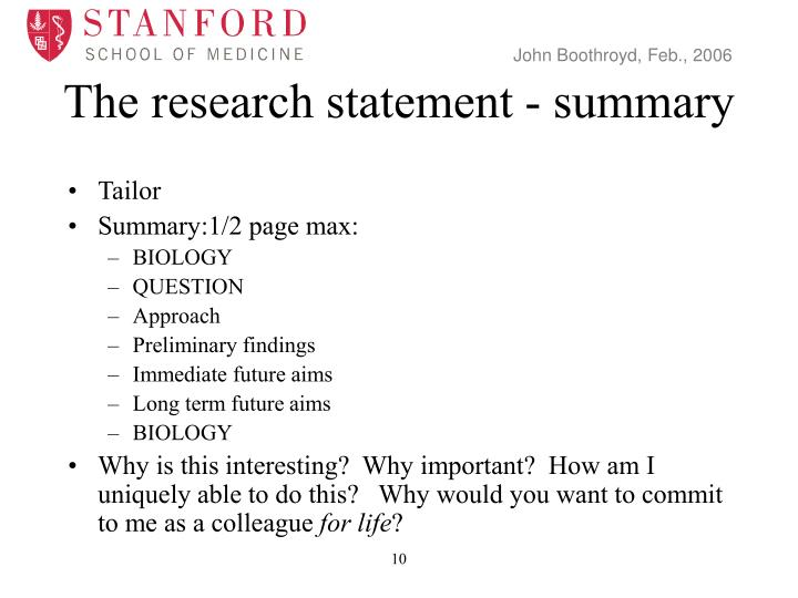 The research statement - summary