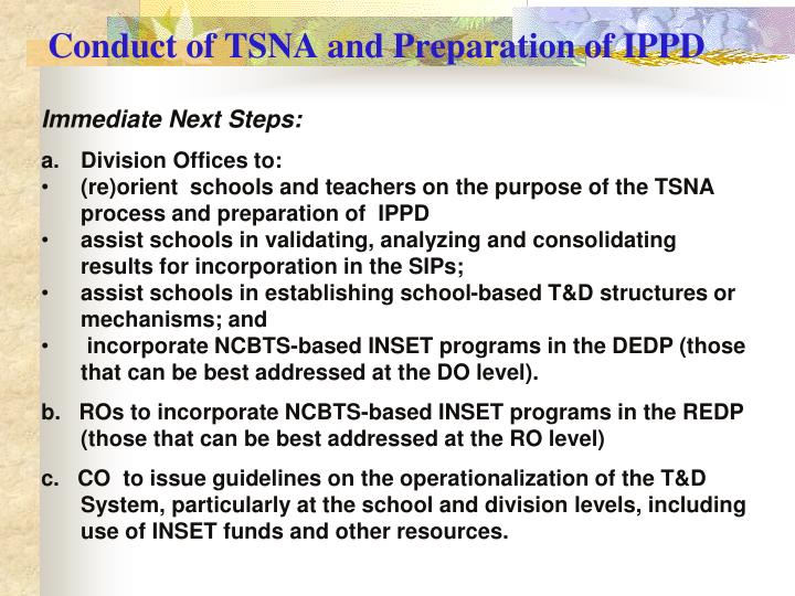 Conduct of TSNA and Preparation of IPPD