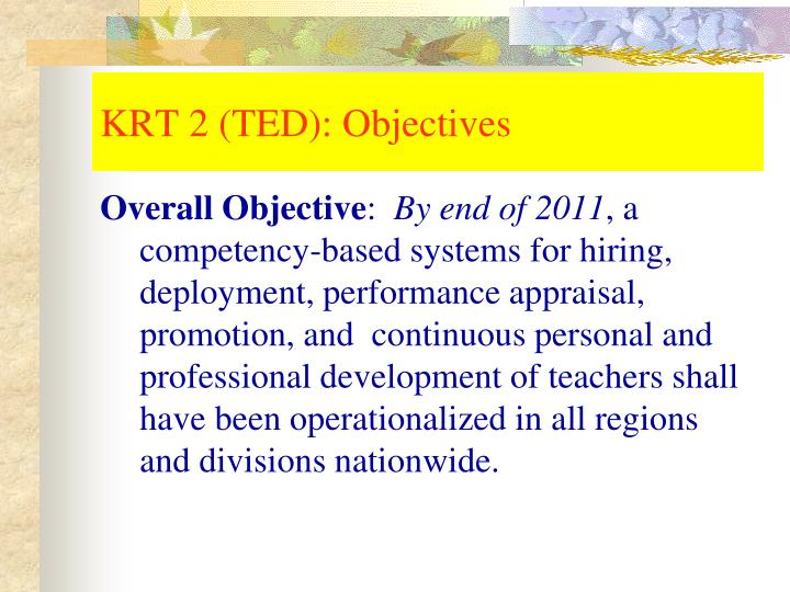 KRT 2 (TED): Objectives