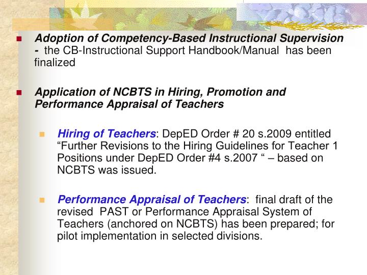 Adoption of Competency-Based Instructional Supervision  -