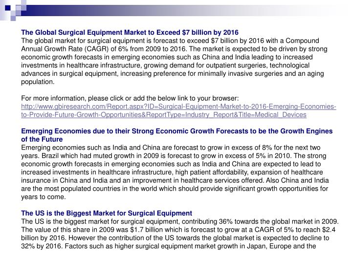 The Global Surgical Equipment Market to Exceed $7 billion by 2016