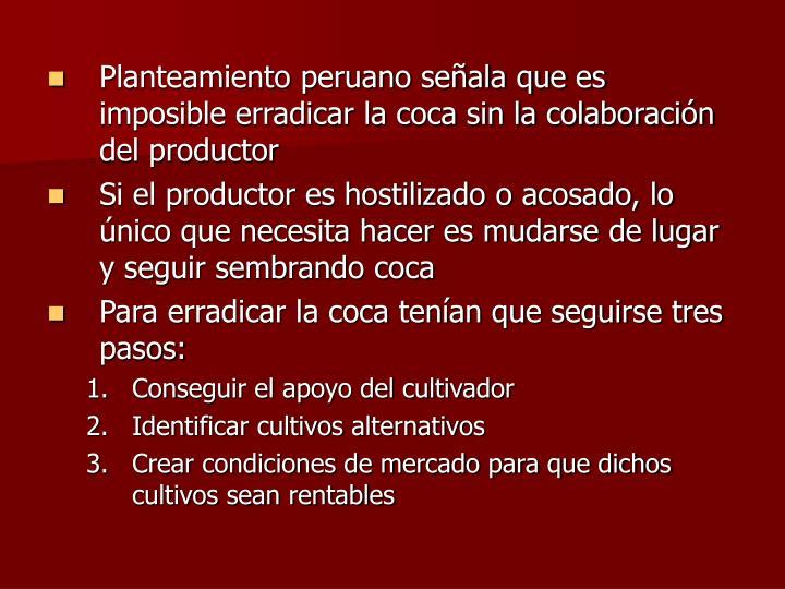 Planteamiento peruano señala que es imposible erradicar la coca sin la colaboración del productor