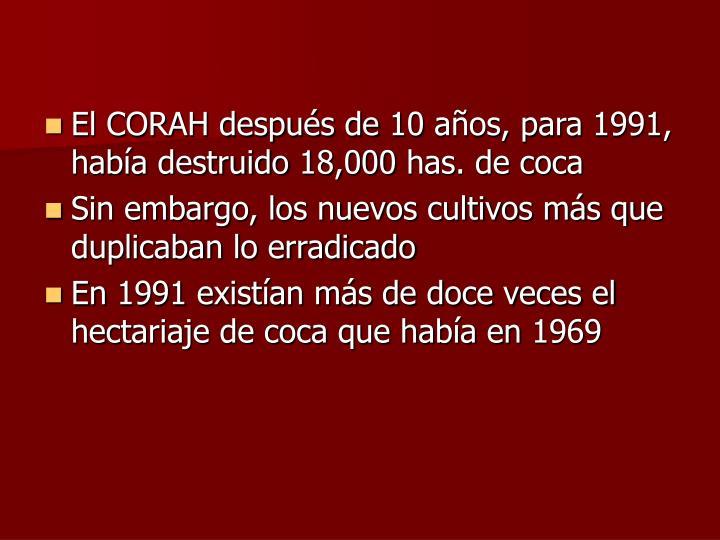 El CORAH después de 10 años, para 1991, había destruido 18,000 has. de coca