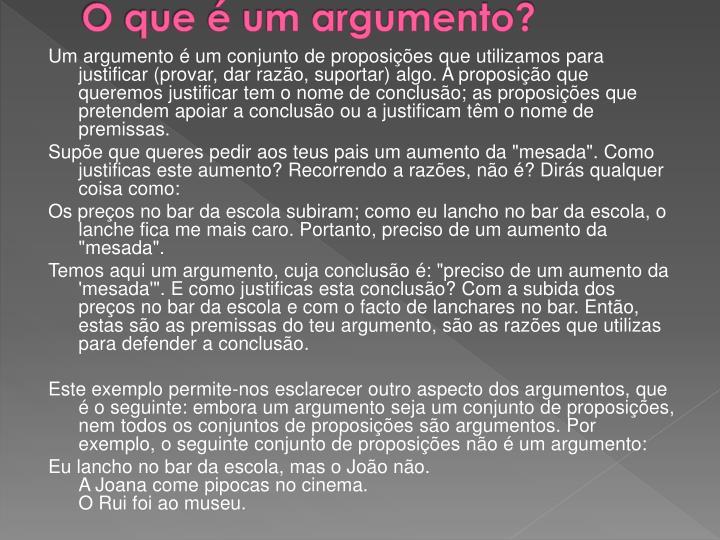 O que é um argumento?
