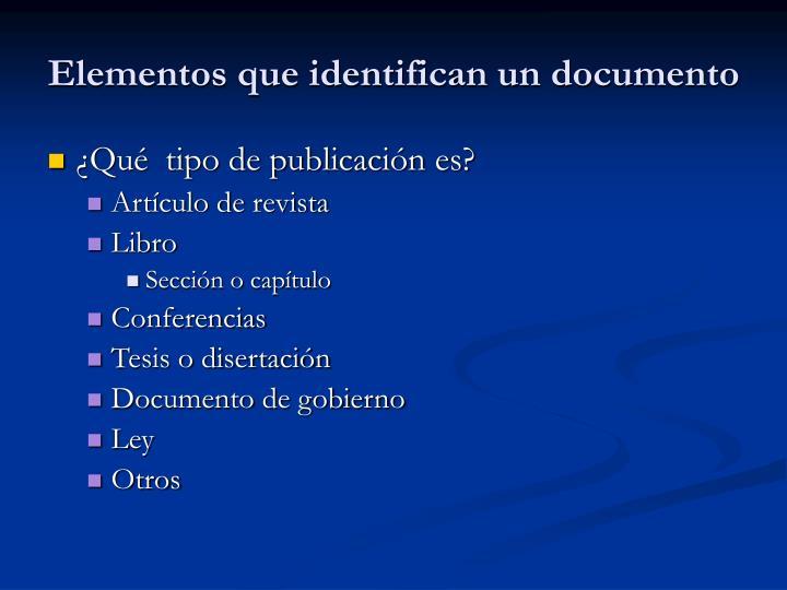 Elementos que identifican un documento