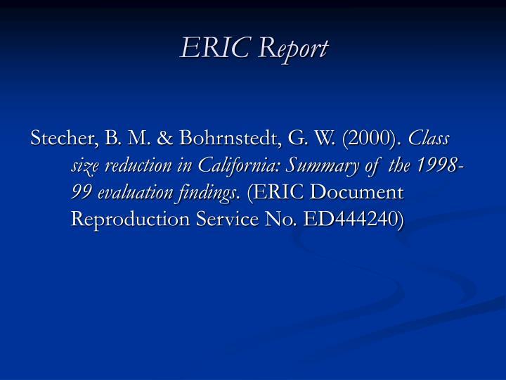 ERIC Report