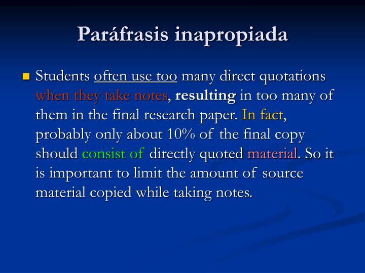 Paráfrasis inapropiada