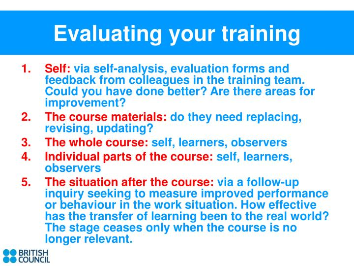Evaluating your training