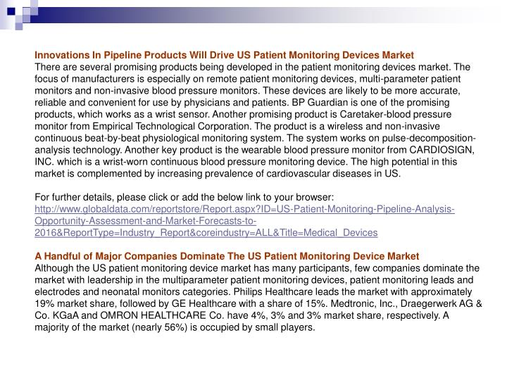 Innovations In Pipeline Products Will Drive US Patient Monitoring Devices Market