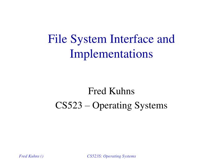 file system interface and implementations n.