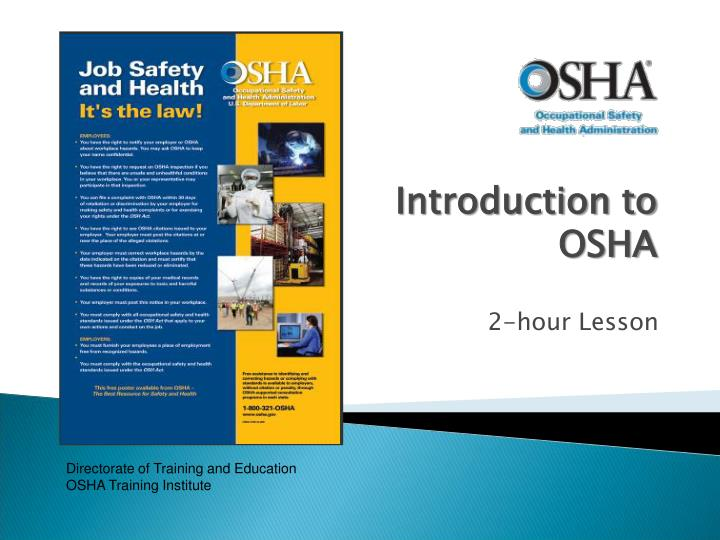 the importance of osha Why is work health important it's the law under section 19(1) of the work health and safety act 2011 (cth) (the whs act), a person conducting a business or.