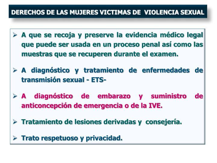DERECHOS DE LAS MUJERES VICTIMAS DE  VIOLENCIA SEXUAL