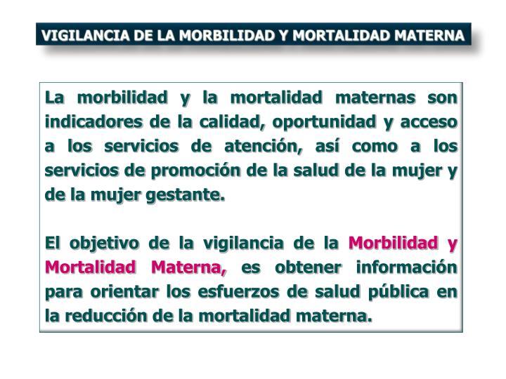 VIGILANCIA DE LA MORBILIDAD Y MORTALIDAD MATERNA