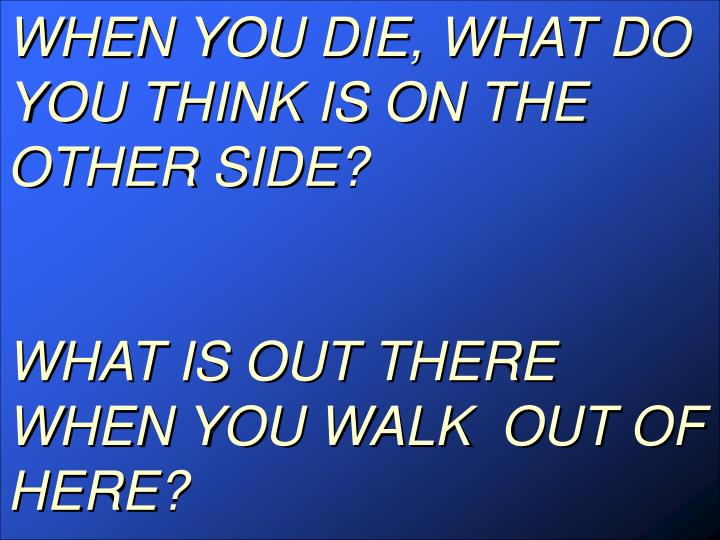 WHEN YOU DIE, WHAT DO YOU THINK IS ON THE OTHER SIDE?