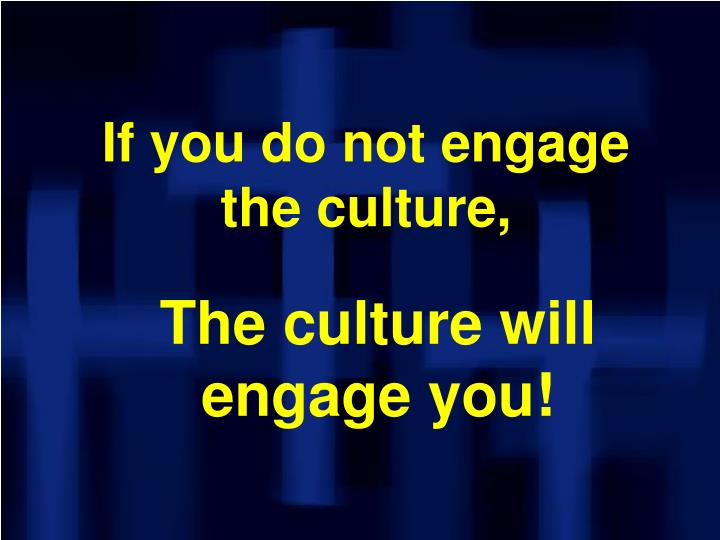 If you do not engage the culture,