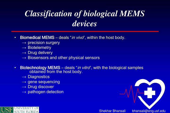 Classification of biological MEMS devices