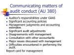 communicating matters of audit conduct au 380