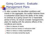 going concern evaluate management plans