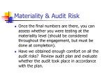 materiality audit risk