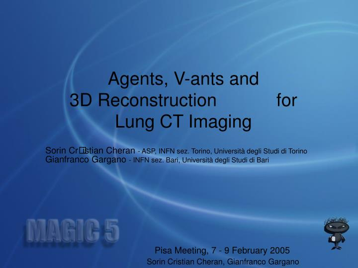 Agents, V-ants and           3D Reconstruction            for Lung CT Imaging