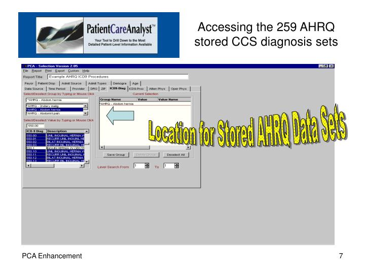 Accessing the 259 AHRQ stored CCS diagnosis sets