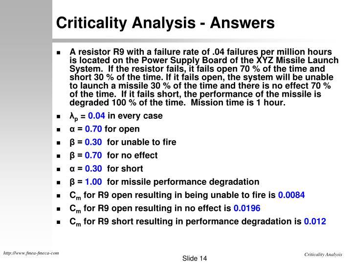 Criticality Analysis - Answers