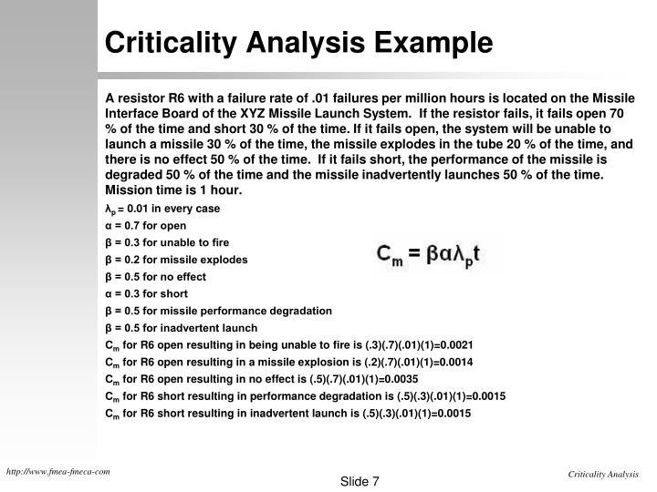 Criticality Analysis Example