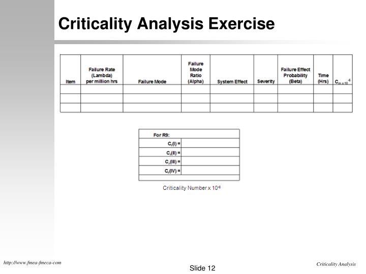 Criticality Analysis Exercise