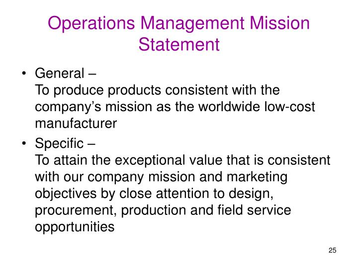 Operations Management Mission Statement