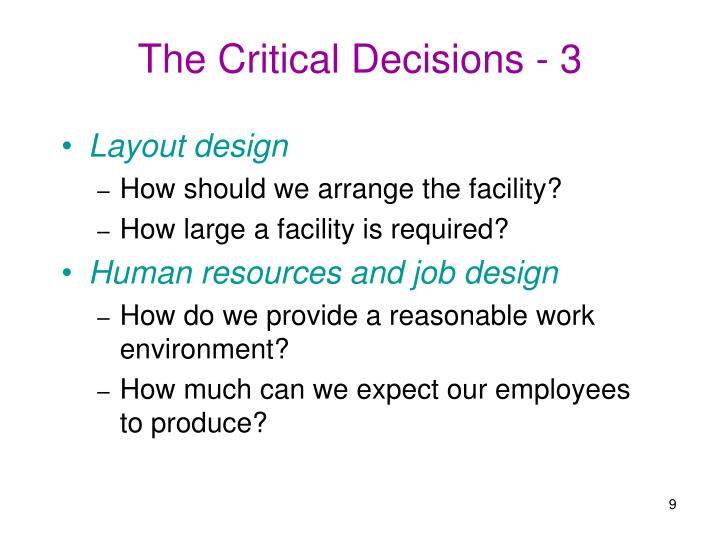 The Critical Decisions - 3