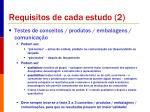 requisitos de cada estudo 2